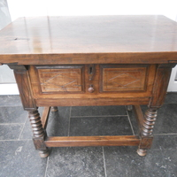 Spanish walnut table 1 drawer Hi 63 , 83 cm wide and 56 cm deep